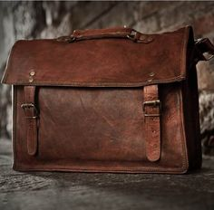 Rustic Leather Satchel Briefcases for Laptop  #highonleather #genuine #vintage #pure #mens