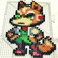 Fox Smash perler beads by pixelpinoy