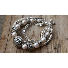 Bali Silver and Pearl Layered Bracelet ($36) via Polyvore