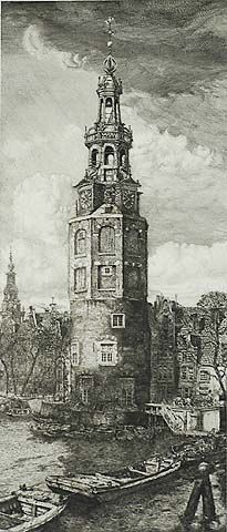 Montelbaans Tower - PIETER DUPONT -PIETER DUPONT Dutch, (1870-1911)Etching and engraving, circa 1910, edition 100. Published by van Wisselingh, Amsterdam. 18 1/2 x 8 1/2 in. Signed in pencil. A superb impression of this important work.