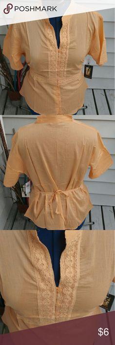Light Orange Linen Tunic Tie Top Light Orange Linen Tunic Tie Top 1x 14 2x 16 3x 18 Michelle Martin Tops Tunics