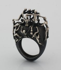 Ring | Selda Okutan. 'Istanbul'.  Sterling and oxidized silver.