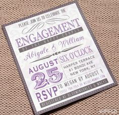Vintage Engagement Party Invitations Purple by WhimsyBDesigns Invitation Card Design, Invitation Wording, Invitation Cards, Invitation Ideas, Invitation Templates, Surprise Party Invitations, Engagement Party Invitations, Bridal Invitations, Invites