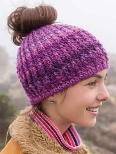 Join the craze of the Messy Bun Hat -- be stylish and keep your head and ears warm while wearing your hair in an updo or messy bun! Crocheted using a J/10/6mm hook and just 1 skein of Red Heart Boutique Unforgettable #4 worsted-weight yarn. Model is ...