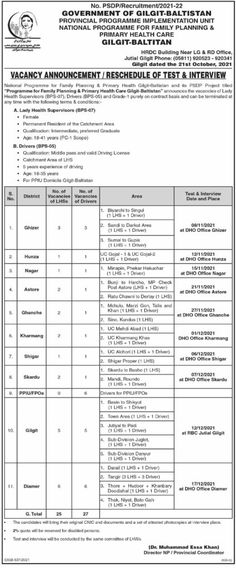 National Program for Family Planning and Primary Health Care Gilgit Baltistan Jobs 2021
