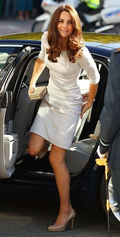 Where: Visiting the Royal Marsden Foundation Trust hospital in South London. What: Dress by Amanda Wakeley, shoes by L K Bennett