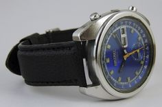 Vintage Seiko Automatic Day Dater Chronograph 6139 6012 Watch Blue Dial | eBay
