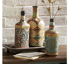 Set of 3 Decorative Bottles from Through the Country Door®