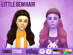 """simduction: """" Little Gem Hair and Little Strange Hair by Simduction To celebrate the 16 years of sims i made te conversion of two of my hairs, if you want to know more about the 16 hours of sims check..."""