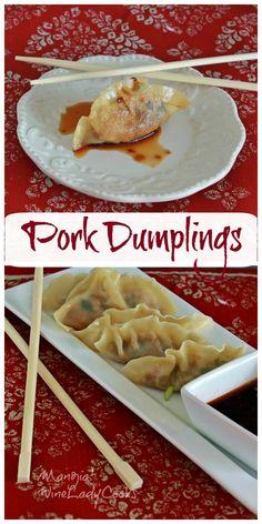 Pork Dumplings, steamed or fried are easy to make for an appetizer or side dish | www.wineladycooks.com #betterthantakeout #dumplings #appetizer @wineladyjo