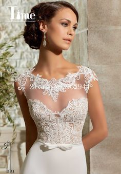 lace wedding dresses 2015 2015 bateau bow belt cap sleeves cheap bridal gowns heart shaped back Vestidos De Noiva chiffon court