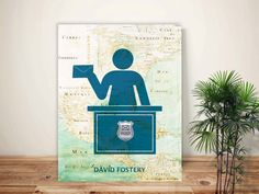 Postal worker, Postman Print, Mailman, PERSONALIZED Postman gift, Gift for postal worker postal print, retirement gift, post office decor by GeographicArt on Etsy