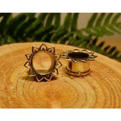 Lotus brass plugs tunnels, ear gauges, tribal flower hippie gypsy... ($14) ❤ liked on Polyvore featuring jewelry, earrings, handcrafted earrings, gypsy jewelry, gypsy earrings, tribal jewelry and nickel free earrings