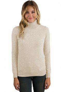 80573220c29 Womens Cashmere Sweaters - JENNIE LIU. Oatmeal Cashmere Long Sleeve ...