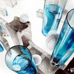 스티로폼 공, 유리잔, 유리, 투명체, 물, 벽돌