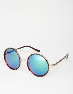 Image 1 of New Look Round Blue Tint Sunglasses