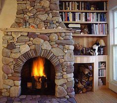 log cabin stone fireplace rustic stone fireplace 18 Brilliant Uses of River Rocks For Exclusive Home Decoration River Rock Fireplaces, Natural Stone Fireplaces, Rustic Fireplaces, Fireplace Mantels, Fireplace Ideas, Fireplace Box, Fireplace Pictures, Fireplace Remodel, Stone Fireplace Designs