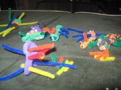 Create insects out of model magic, pipe cleaners, and beads.  Awesome craft for insect unit!