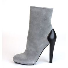 GUCCI Suede/Leather Ankle Boot, Grey-8.5-Gray