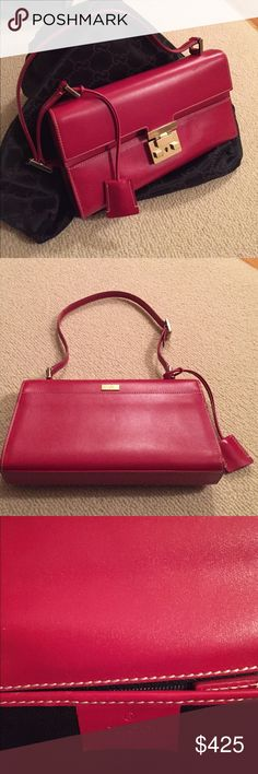 Authentic Gucci Leather Bag Beautiful red leather bag, perfect condition! Gucci Bags Shoulder Bags