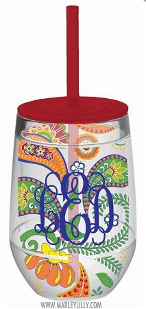 Monogrammed 10oz Calypso Paisley Double Wall Acrylic Stemless Wine Cup   Flash Sale   Marley Lilly