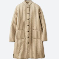 Low-gloss finish for a more casual appearance. A slender, stylish full-length coat.- Synonymous with the timeless appeal of Parisian chic. From our Ines de la Fressange collaboration collection. Uniqlo, Long Quilted Coat, Quilted Jacket, Quilted Coats, Langer Mantel, Beige Coat, Tumblr Fashion, Weekend Outfit, Latest Fashion For Women