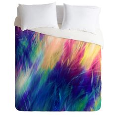 Caleb Troy Paint Feathers In The Sky Duvet Cover | DENY Designs Home Accessories