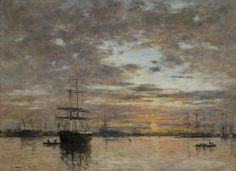 Eugène Boudin 1824 - 1898 LE PORT DU HAVRE AU COUCHER DU SOLEIL Painted in 1882 Oil on canvas laid down on board, 54.3 by 74.3 cm  © Sotheby's