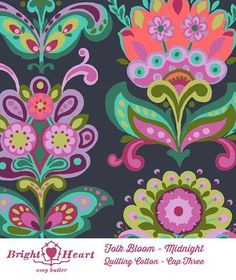 Bright heart - Folk bloom in midnight - TangledBlossomsDesign