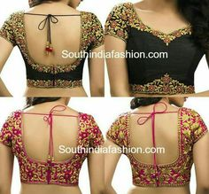 Five Best Saree Blouse Designs – Fashion Asia Blouse Back Neck Designs, Black Blouse Designs, Simple Blouse Designs, Stylish Blouse Design, Patch Work Blouse Designs, Kalamkari Blouse Designs, Sari Blouse Designs, Designer Blouse Patterns, Bridal Blouse Designs