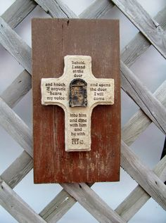 Reclaimed WOOD With CROSS REVELATION 320 by OneOfAKindByKat, $20.00