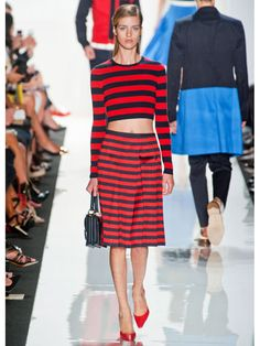 Michael Kors - Red and navy stripes are so fresh. CAbi Spring '13 has a knit jacket in this pattern - can't wait to wear it with a great T and jeans.
