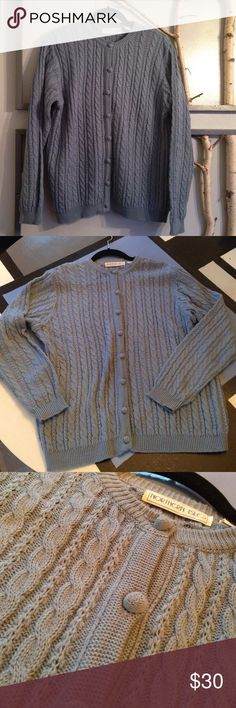 Vintage Popcorn Button Cable Sweater Northern Isles vintage blue/gray sweater, like new condition. Who doesn't remember those popcorn buttons with the greatest fondness. This sweater goes with skirts, dress pants and jeans. Size 40, fits as XL or 1X Northern Isles Sweaters Cardigans