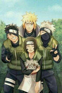 Naruto: Minato Namikaze, Obito Uchiha, Rin and Kakashi Hatake (Animefang) Naruto Team 7, Naruto Shippuden Sasuke, Naruto Kakashi, Fan Art Naruto, Anime Naruto, Team Minato, Naruto Comic, Naruto Cute, Konoha Naruto