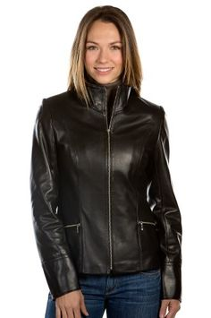 Katie Napa Lambskin Leather Jacket, BLACK/VINTAGE, Size 18 ** Want additional info? Click on the image.