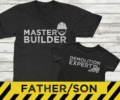 Juego camisas de padre hijo, maestro y experto en demolición, camisas de construcción para los niños, padre hijo emparejar conjuntos de camisa Estos padre e hijo coordinaron camisas lo dicen todo. Daddy construye hijo lo golpea encima! Perfecto para el papá que le encanta crear y crear. Disponible en blanco o negro. INFORMACIÓN SOBRE PEDIDO: ------------------------------- -Seleccione el tamaño y el color de la camiseta adulto en el primer menú desplegable -Seleccione el tamaño de la cami...
