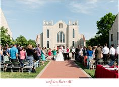 Outdoor wedding at John Brown University Cathedral of the Ozarks in Siloam Springs, AR.