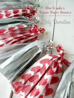 DIY Tissue Paper Tassels Banner Party Decorations- great backdrop, cheap and easy Valentines Bricolage, Valentines Day Party, Valentines Day Decorations, Valentine Day Crafts, Valentine Stuff, Valentine Ideas, Dollar Store Crafts, Dollar Stores, Saint Valentin Diy