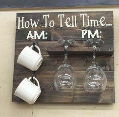 Pallet project wine glass and coffee cup holder