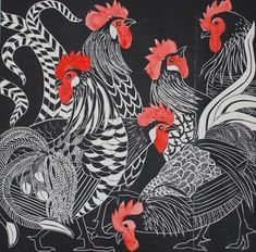 'cacophony of cockerels' by celia lewis - linocut Art And Illustration, Arte Do Galo, Linocut Prints, Art Prints, Block Prints, Chicken Art, Art Graphique, Wood Engraving, Gravure