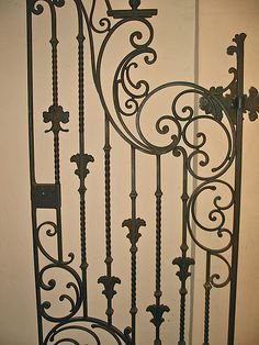 This gate on the second floor is usually locked. The meeting rooms beyond it are off-limits to non-members. Tor Design, Gate Design, Wrought Iron Decor, Urban Setting, Iron Art, Iron Gates, Garden Gates, Blacksmithing, Architecture