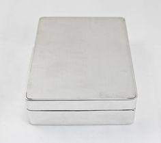 Silver Cigarette Box Engine Turned London 1960 c