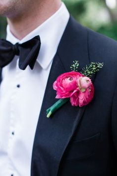 Groomsmen Bout:  Fuchsia ranuncluli with Dusty Miller (not pictured here)