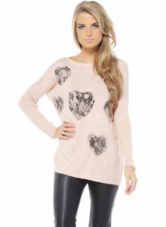 Light Pink Knit Sweater with Lace Heart Print,  Sweater, heart print  knit sweater, Casual