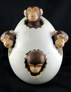 sergio bustamante | Sergio Bustamante Four Monkeys in Egg