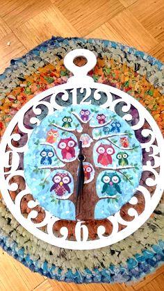 Owl clock nursery clock winter clock wooden by ClockworkAbbeys