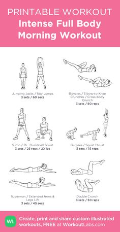 Intense Full Body Morning Workout: my visual workout created at WorkoutLabs.com • Click through to customize and download as a FREE PDF! #customworkout