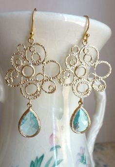 Aquamarine Blue Glass and Gold Bubble