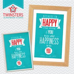 """Because I'm HAPPY - printable home wall decor 8x10"""", 5x7"""" ? wordart TW127 INSTANT DOWNLOAD"""
