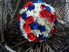 Red white and blue bridal bouquet Sola bouquet Rustic Navy Bouquet, Blue Flowers Bouquet, Bridal Bouquet Blue, Sola Flowers, Small Bouquet, Bouquet Toss, Blue Wedding Flowers, Blue Bridal, Bridesmaid Flowers